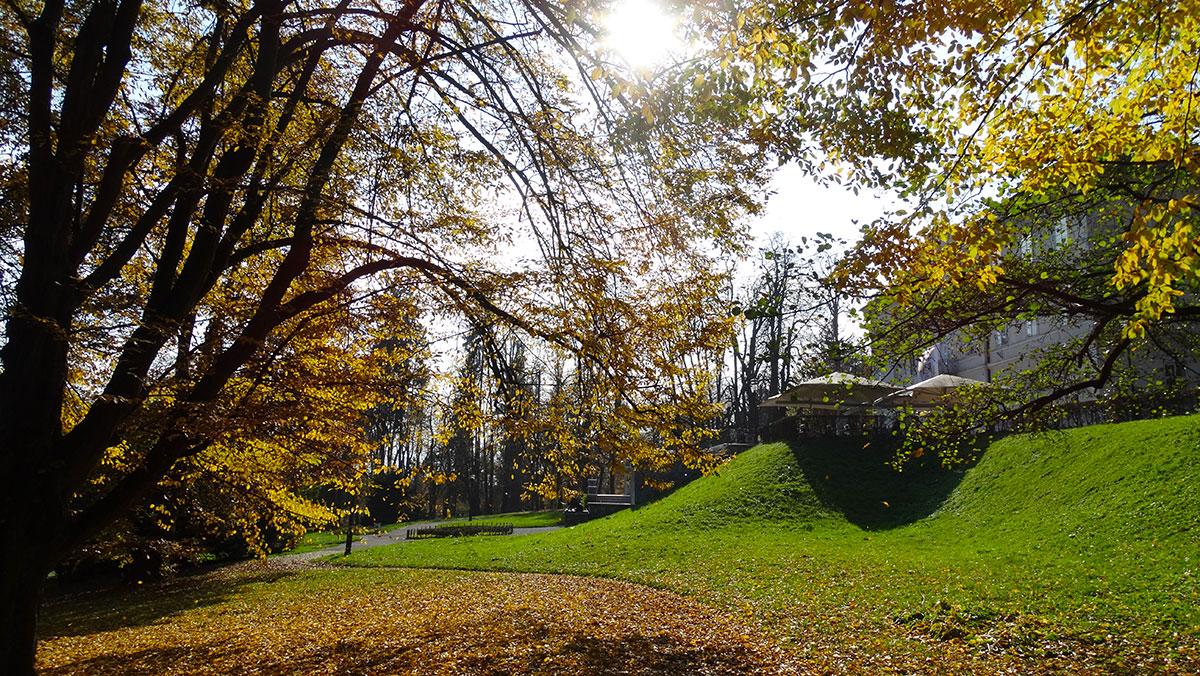 Beautiful autumn day in Tivoli park, Ljubljana