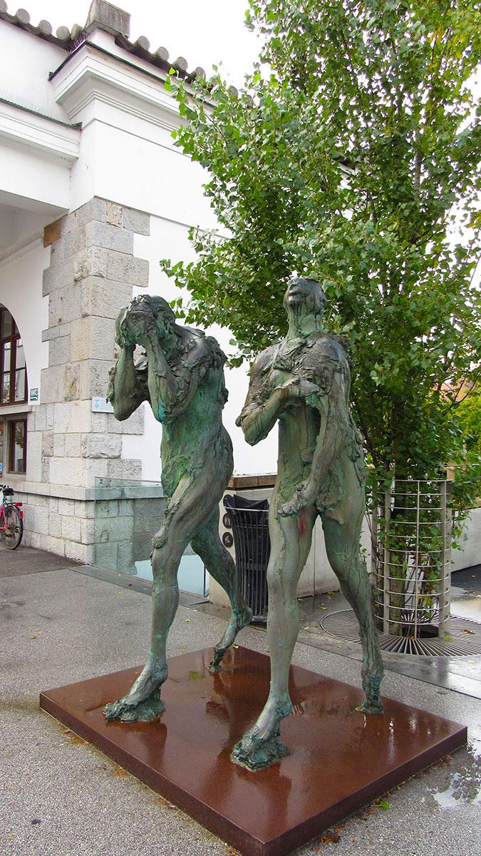 Sculpture of Adam and Eve on Butcher's Bridge, Ljubljana