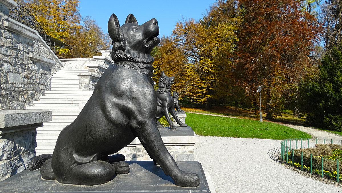 Guardian dogs protecting the mansion in Tivoli Park, Ljubljana