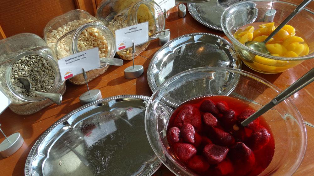 Park Inn by Radisson, breakfast cornflakes and fruits