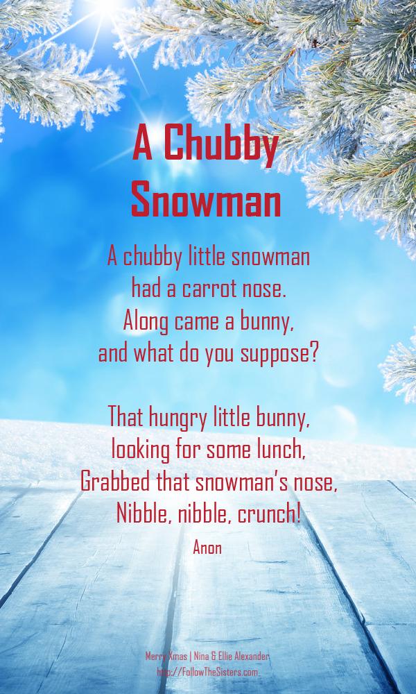 A chubby snowman, Christmas poem