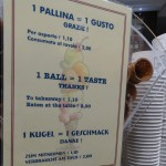 Prices of Italian ice cream in Trieste, Italy