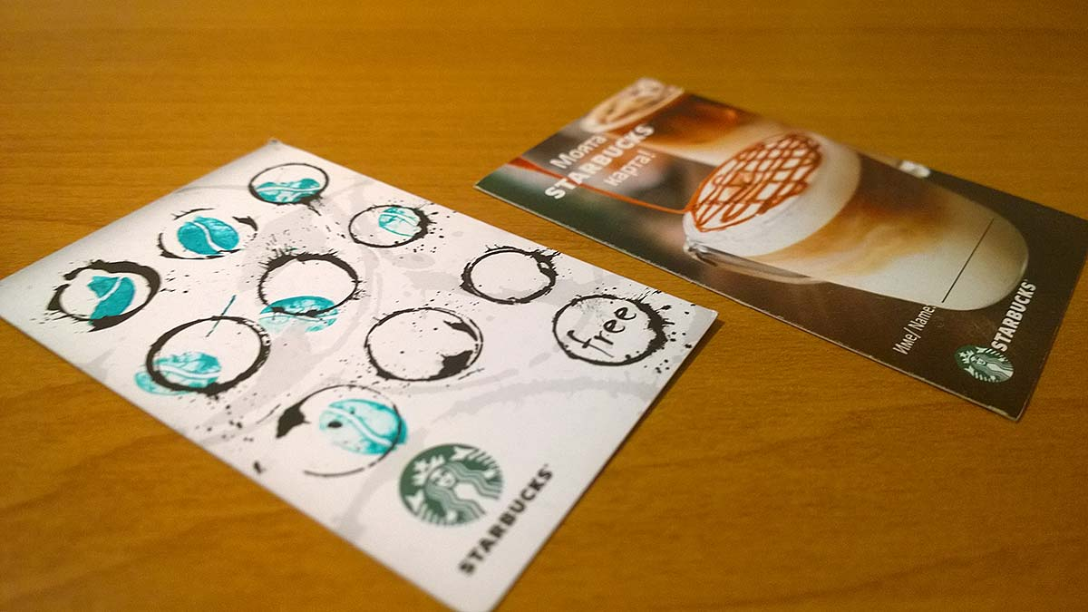 Award card for Bulgarian Starbucks