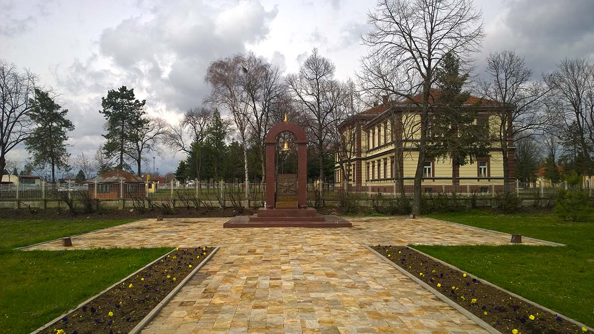 The monument of the Soviet army in front of the concentration camp in Nis