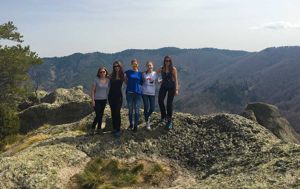 Bulgarian travel bloggers on Karadjov Stone