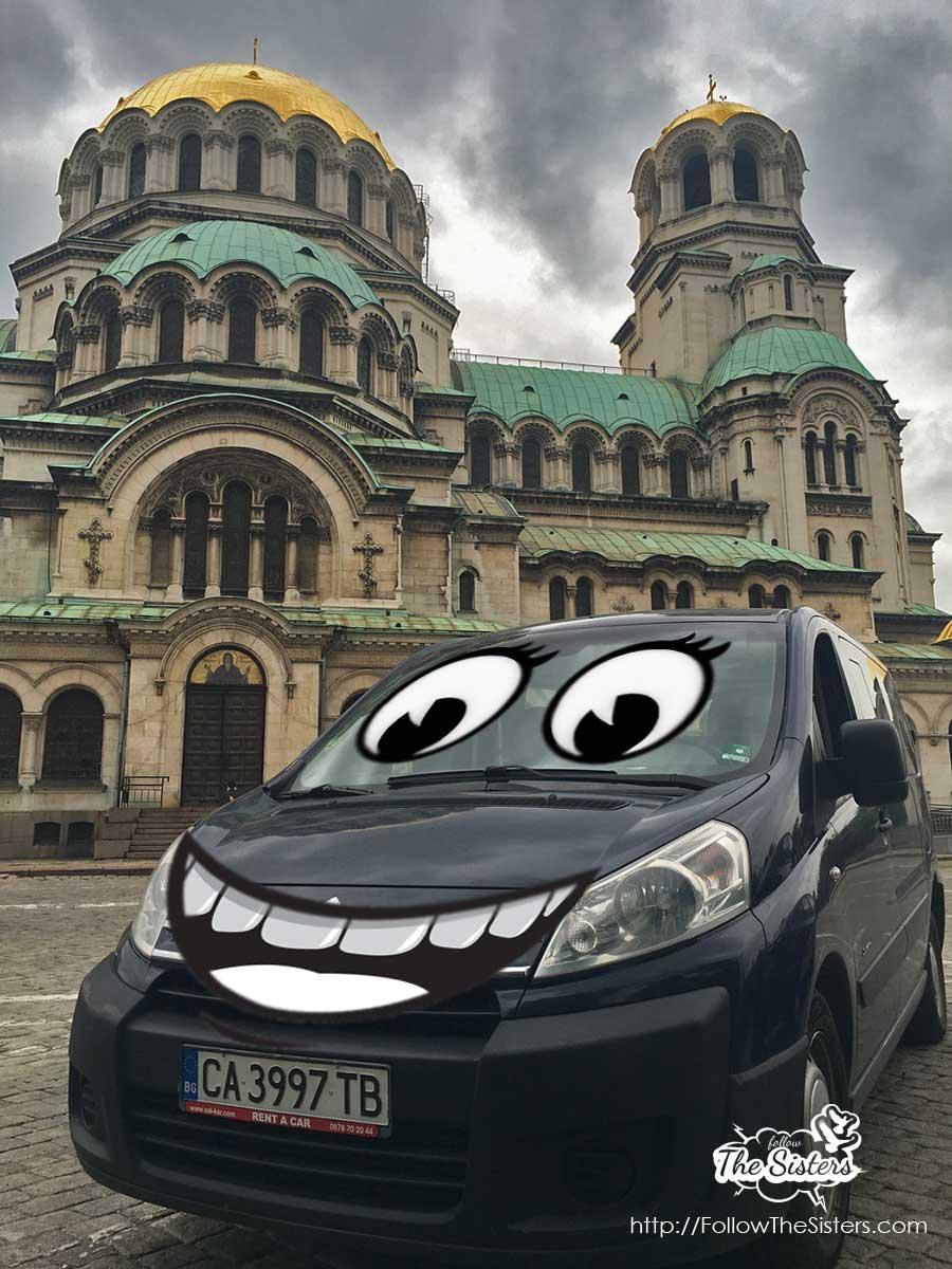 Citroen Jumpy rent a car van in front of Alexander Nevsky, Bulgaria