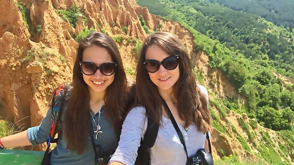 Ellie and Nina at the Stob Pyramids