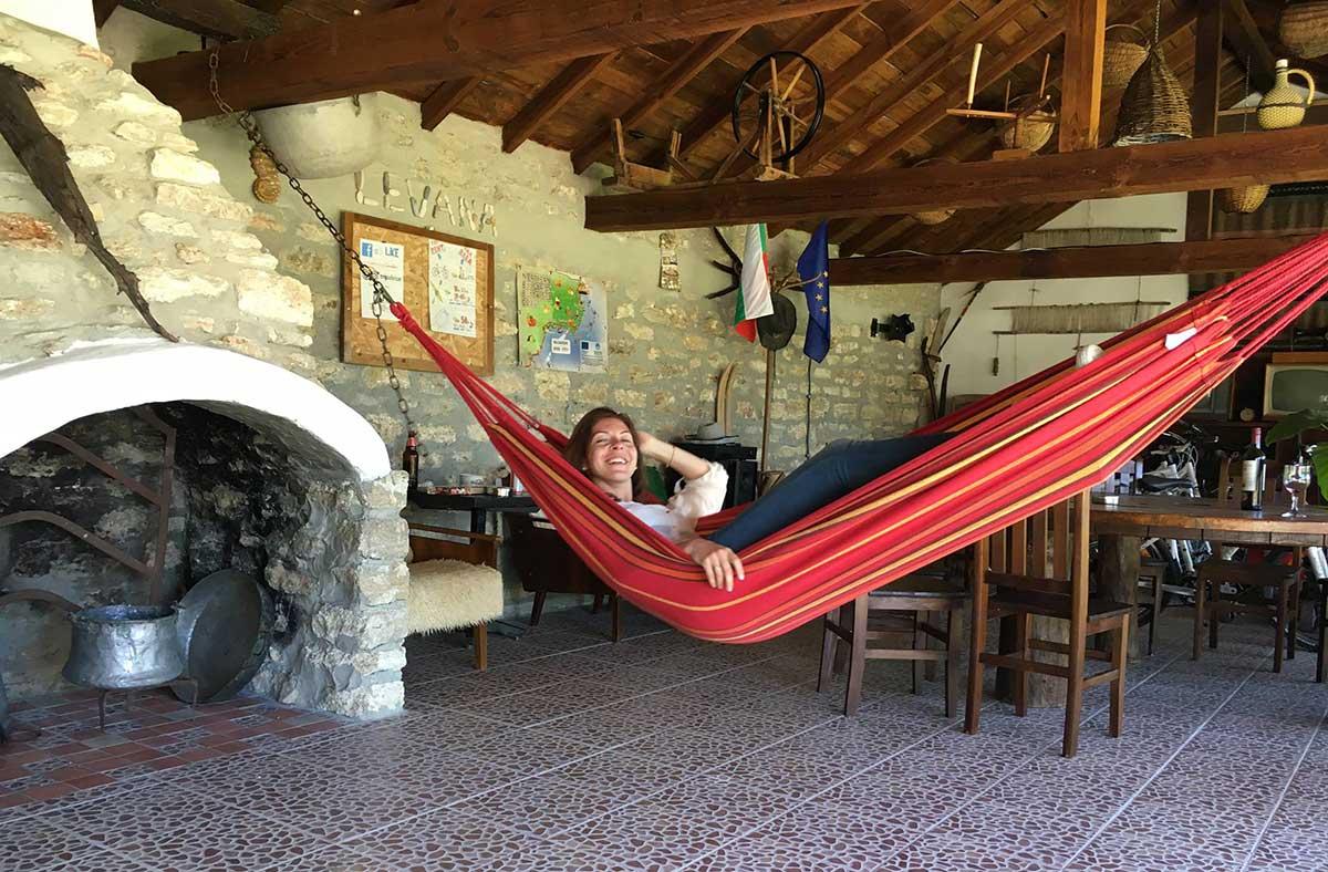 Julia enjoying the hammocks in Levana Guest House