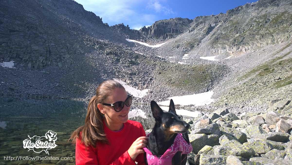 Nina and Buddy at the ice lake