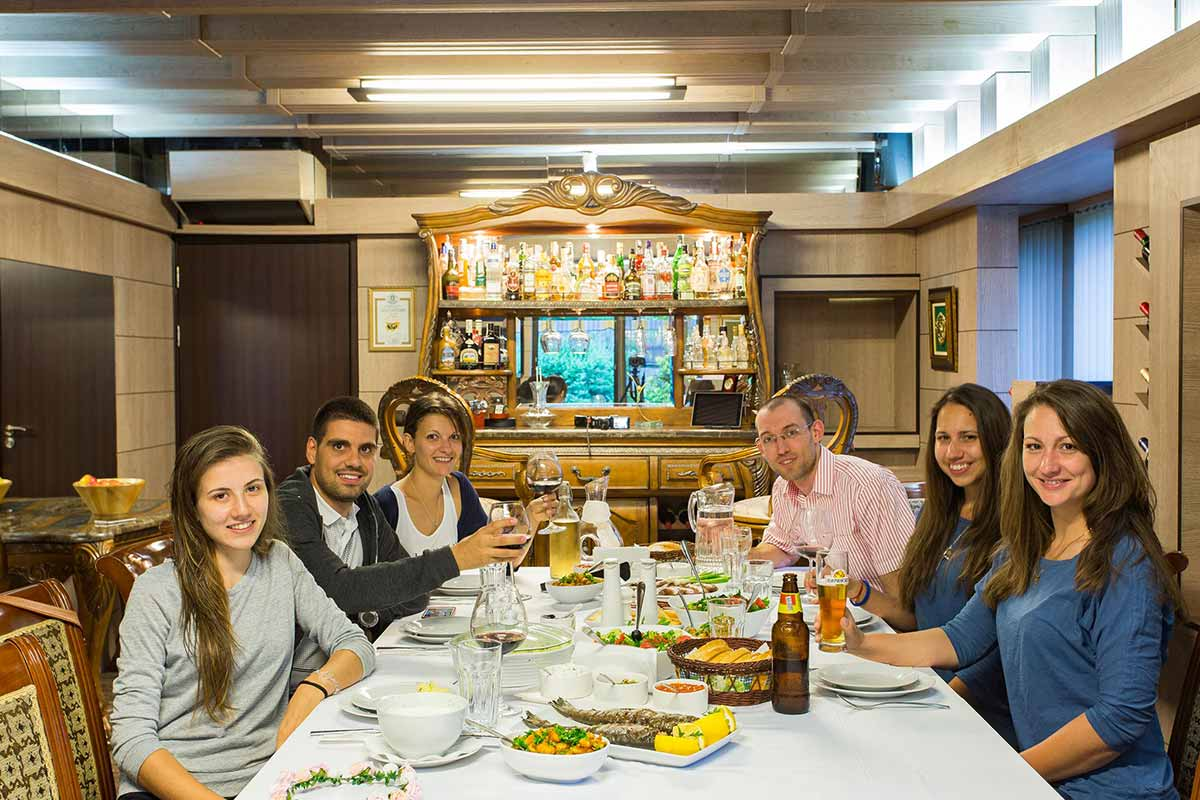 Having dinner in villa Vuchev, Velingrad
