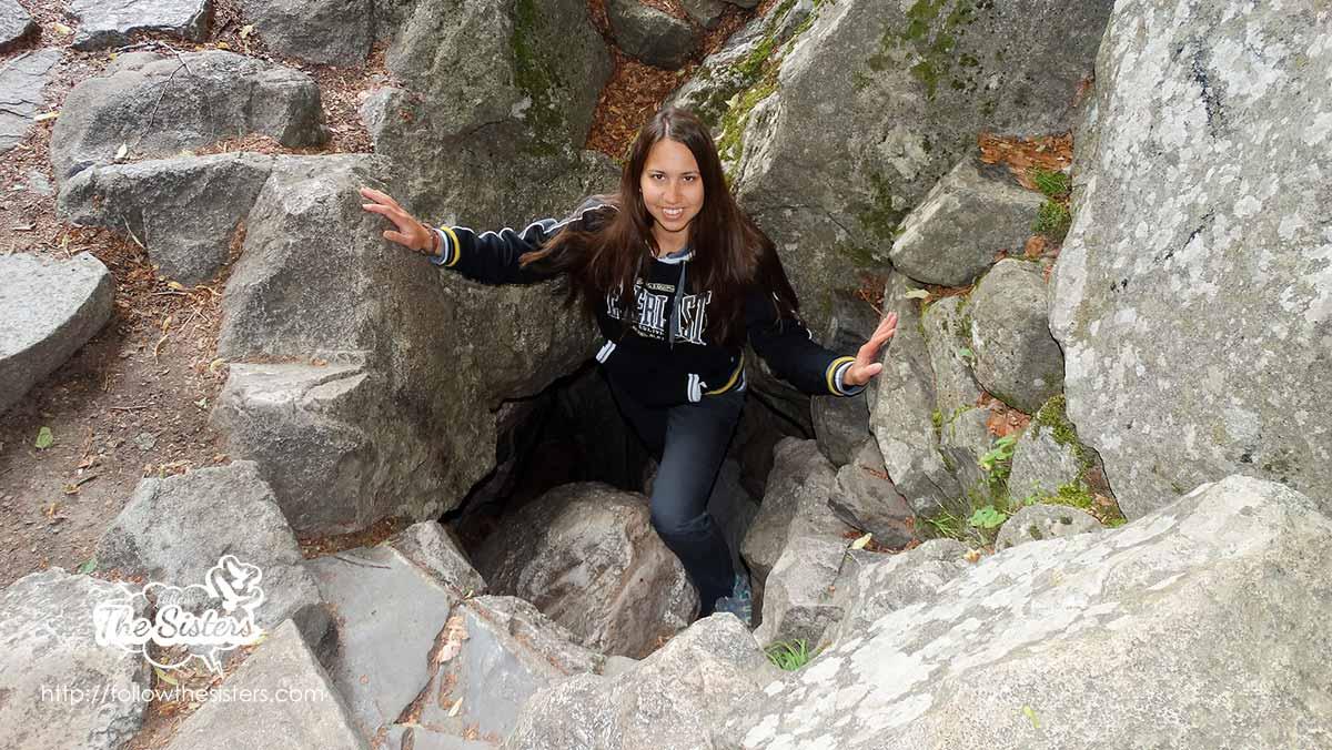 Ellie coming out of Ivan Rilski cave