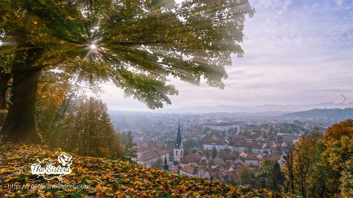 Ljubljana view from the park of the castle