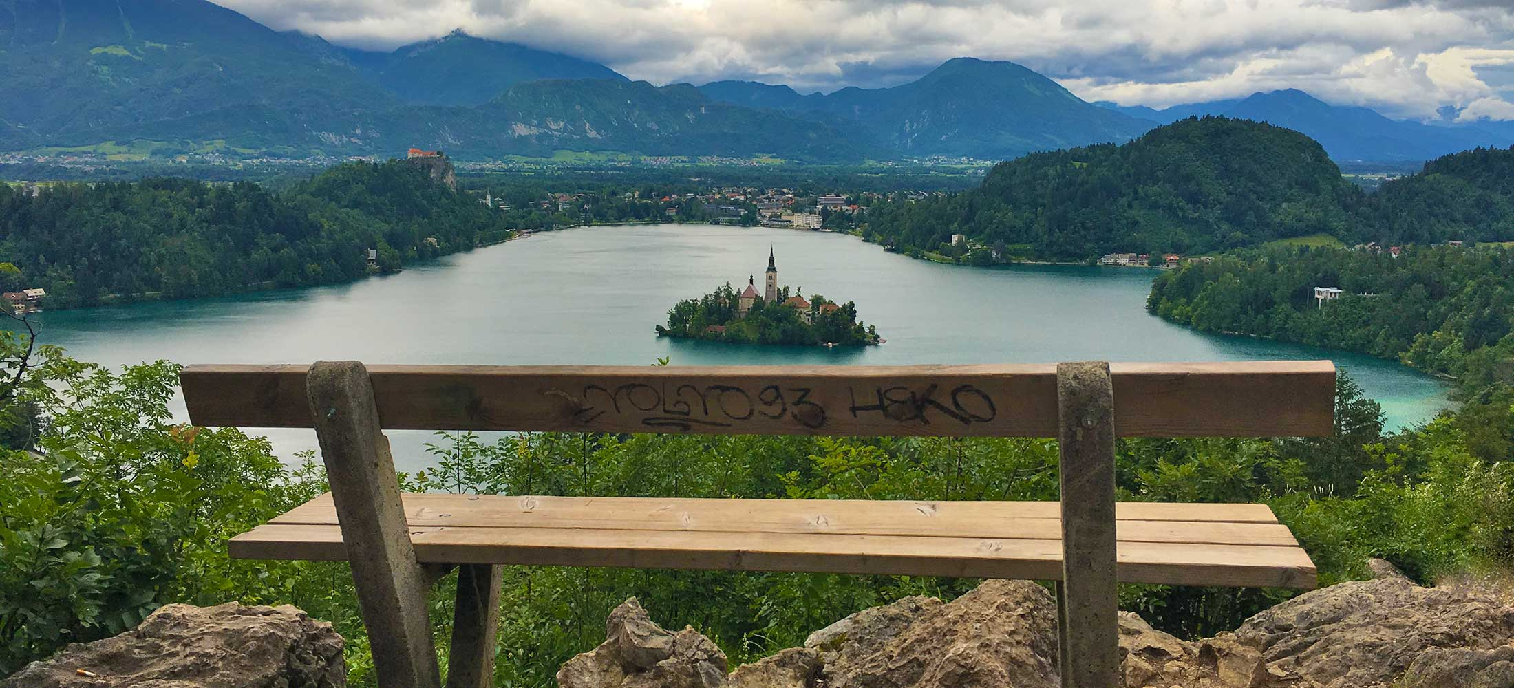 The famous bench on lake Bled