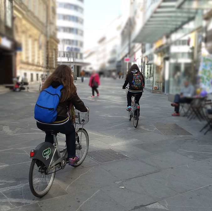 Exploring Ljubljana on a bicycle